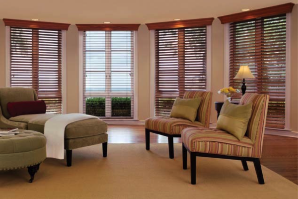 Wood cornices over wood blinds