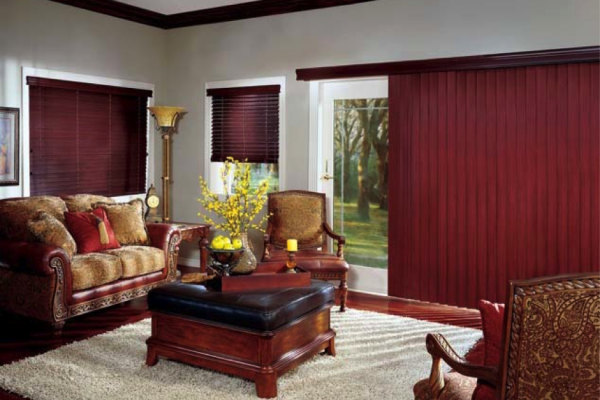 Wood valance, verticals and blinds