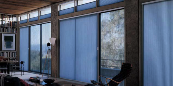 Duette honeycomb shades traversed with Vertiglide