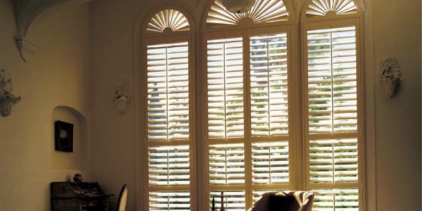 Newstyle Hybrid Shutters, arched-top